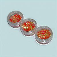 Чешуя цветная для дизайна ногтей YRE DCH-05, цена за 3 шт, коралловый, песок для дизайна ногтей, декор ногтей, песочный маникюр, глитер - песок