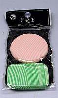 Спонж для нанесения макияжа YRE SP-03, 2 шт цветные, спонжик для нанесения макияжа, косметический спонж, спонжики для макияжа, очищающие спонжи