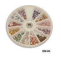 Контейнер-карусель со стразами для дизайна на ногтях YRE KMK-04, большой, капли, 12 цветов, ногти со стразами, все для дизайна ногтей, декор на ногтях