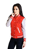 Куртка Бомбер Красная с Серыми Рукавами