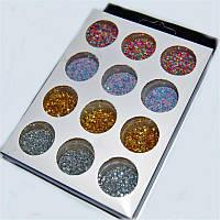 Песок цветной для дизайна ногтей YRE NDP-AB4, набор 12шт, 4 цв, песок для дизайна ногтей, декор ногтей, песочный маникюр, глитер - песок