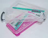 Контейнер пластиковый для мелких изделий R563, пластиковый, розовая, мини-кейсы для мастеров маникюра, все для маникюра, контейнера для бижутерии