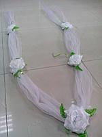 "Свадебная лента для авто ""5 роз"" (белая)"