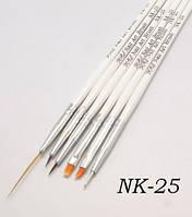 Набор кистей для дизайна ногтей YRE NK-25, белая ручка, цена за 6 шт, кисть для росписи ногтей, кисть для моделирования, кисть для дизайна