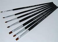 Набор кистей для моделирования гелем YRE NK-13, черная ручка, цена за 7 шт, кисть для росписи ногтей, кисть для моделирования, кисть для дизайна