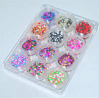 Набор конфети для дизайна на ногтях YRE NDKS-00, в банке 12 шт, декор, все для нейл-арта, все для дизайна ногтей, декор на ногтях