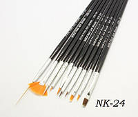 Набор кистей для дизайна ногтей YRE NK-24, черная ручка, цена за 10 шт, кисть для росписи ногтей, кисть для моделирования, кисть для дизайна