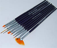 Набор кистей для дизайна ногтей YRE B-34, сиреневая ручка, цена за 10 шт, кисть для росписи ногтей, кисть для моделирования, кисть для дизайна
