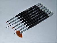 Набор кистей для дизайна ногтей YRE 1927, серебро с черным ручки, цена за 7 шт, кисть для росписи ногтей, кисть для моделирования, кисть для дизайна