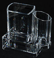Подставка для косметики SF-2132, три секции, акриловый, бесцветный, подставка для хранения косметики, полочка под лаки, маникюрные принадлежности