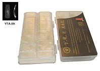 Типсы для наращивания ногтей YRE YTA-09 прозрачные овальные (б/к), в уп 500 шт (кв.кор), профессиональные типсы для наращивания, типсы для ногтей
