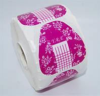 Форма для наращивания ногтей YRE FT-12 широкая сиреневая с цветами, форма для ногтей, форма-наклейка для наращивания, наращивание ногтей с помощью