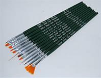 Набор кистей для дизайна ногтей YRE NK-04, зеленая ручка, цена за 12 шт, кисть для росписи ногтей, кисть для моделирования, кисть для дизайна