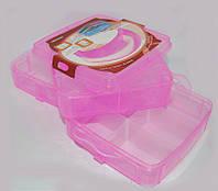 Средний контейнер бокс для маникюрных принадлежностей Burdock, пластиковый, розовый, на 3 секции, чемоданы для мастеров, кейсы для мастеров маникюра