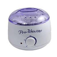 Воскоплав для нагрева воска Pro-Wax 100, белый, объем 400 гр воска, регулятор, сигнальная лампочка, воскоплав для салона или косметического кабинета