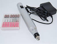 Фрезер-мини портативный набор для маникюра STRONG, серебристый,  на аккумуляторе, 6 насадок, фрезер для маникюра и педикюра, педикюр, фрезер для