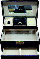Кейс для косметики и украшений раскладной KS-019, чёрный, лаковый, Бьюти кейс