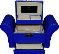 Кейс для косметики и украшений раскладной фигурный KS-045, синий, Бьюти кейс