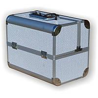 Чемодан для инструментов раздвижной 2629 белый, со стразами, металлический, Металлический чемодан