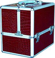 Чемодан для инструментов раздвижной Сase CM-332, металлический, с кожаной оббивкой, коричневый, Металлический чемодан