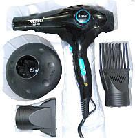 Фен с насадками и диффузором для сушки волос  YRE KM-959, черный, мощность 2400W,  2 режима нагрева, 2 скорости, в комплекте 3 насадки, фен для волос