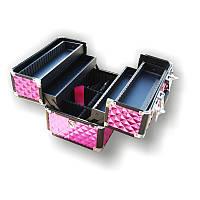 Чемодан для инструментов раздвижной Сase 3522, металлический, розовый, Металлический чемодан