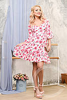 Платье KP-10022 (Белый-малина)