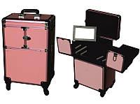 Чемодан раскладной на колесах 3551, розовый, Чемодан