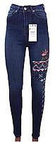 Джинсы женские 4166 американка вышивка стрейч (деми)