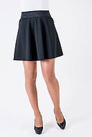 Стильная расклешенная юбка с карманами, черная