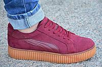 Кроссовки, мокасины на платформе женские бордовые мягкие, легкие (Код: Ш835)