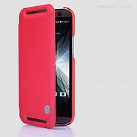 Чехол Nillkin Rain Leather Case для HTC ONE M8 red + защитная плёнка