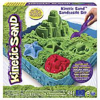 Набор песка для детского творчества - KINETIC SAND ЗАМОК ИЗ ПЕСКА (зеленый, 454 г, формочки, лоток)