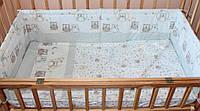 Защита бампер в детскую кроватку  из двух частей Совы клетка серый