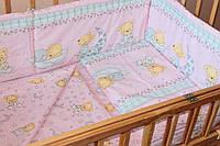 Набор постельного белья в детскую кроватку из 6 предметов Мишка на месяце розовый