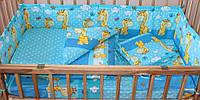 Набор постельного белья в детскую кроватку из 4 предметов Жирафики синий