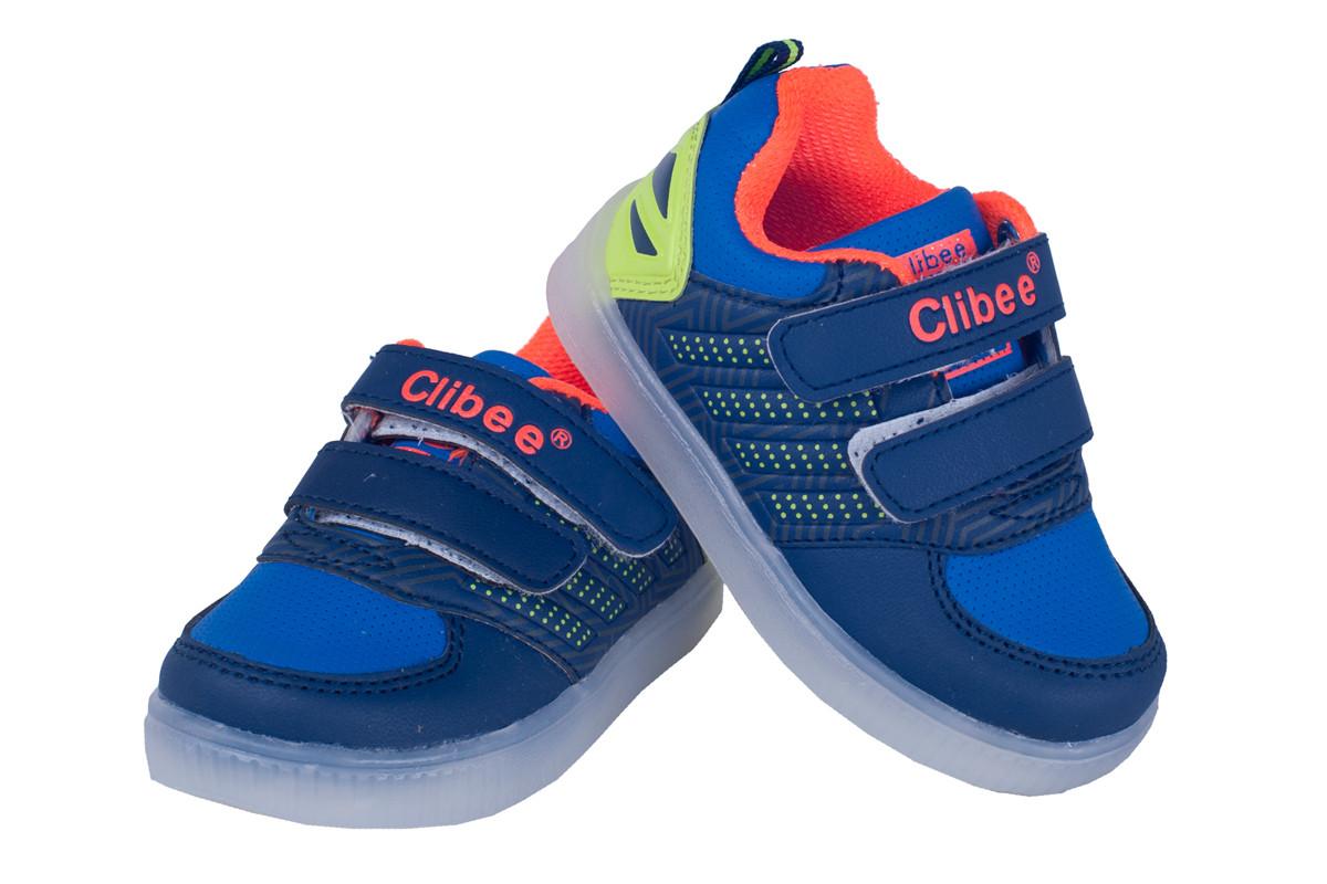 Дитячі кросівки з LED-підсвічуванням для хлопчика Clibee Польща розміри 21-26