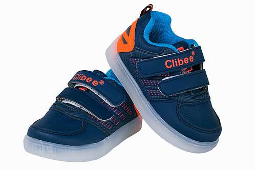 Детские кроссовки c LED-подсветкой для мальчика Clibee Польша размеры 21-26