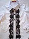 Блуза детская школьная с черным кружевом Размер 116, фото 3