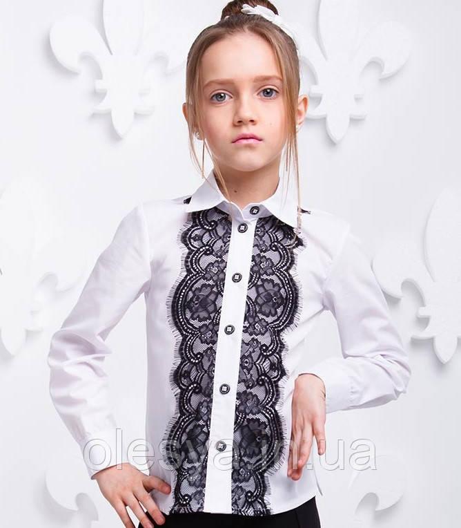 Блуза детская школьная с черным кружевом Размер 116