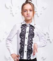 Блуза детская школьная с кружевом Размер 116- 140