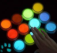 Люминофор набор 12 шт в баночках Светящийся в темноте порошок