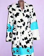 Женский молодежный махровый халат с капюшоном, Панда
