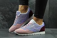 Стильные кроссовки Reebok Classic женские, розовые с голубым, замшевые