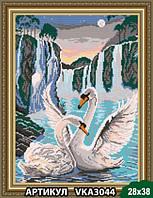 Схема для вышивки бисером Лебеди у водопада