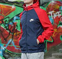 Ветровка мужская Nike, темно-синяя с красным