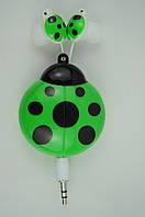 Наушники вакуумные детские SN-1301/02/03 (шнур-рулетка, без микрофона)зеленые