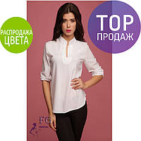 Блузка женская, с оригинальным воротником, белая / Женская рубашка свободного кроя, стильная, разные цвета