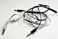 AUX Аудио-кабель 3.5 jackMM 1м  (лапша тонкая )