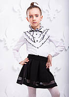 Стильная черная детская юбка в складку P8007-2 для девочки 6  - 7 лет (р. 116, 122!) ТМ ОКП Черный